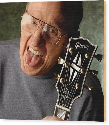 Les Paul With Tongue Out By Gene Martin Wood Print