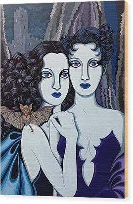 Les Vamperes Bleu Wood Print