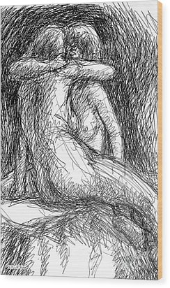Lesbian Sketches  1 Wood Print by Gordon Punt
