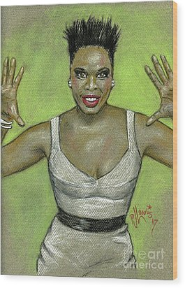 Wood Print featuring the drawing Leslie Jones by P J Lewis