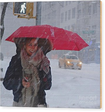 L Esprit De New York - Winter In New York Wood Print