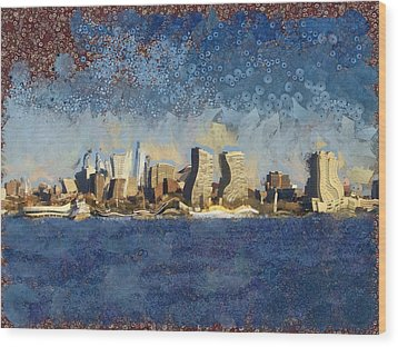 Wood Print featuring the mixed media Less Wacky Philly Skyline by Trish Tritz