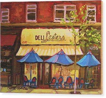 Lesters Cafe Wood Print by Carole Spandau