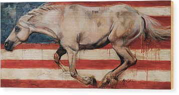 Let Freedom Run Wood Print by Mary Leslie