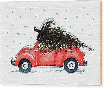 Let It Snow Wood Print by Heidi Kriel