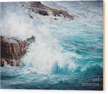 Let There Be Waves Wood Print by Candace D Fenander
