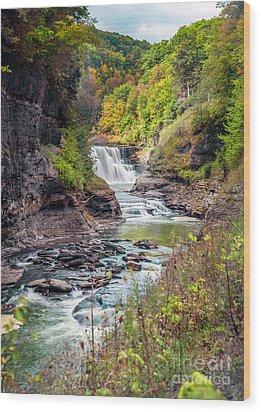 Letchworth Lower Falls In Autumn Wood Print
