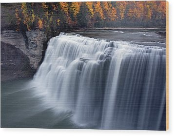 Wood Print featuring the photograph Letchworth Middle Falls II by Timothy McIntyre