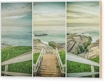 Let's Go Down To Windansea Wood Print by Joseph S Giacalone
