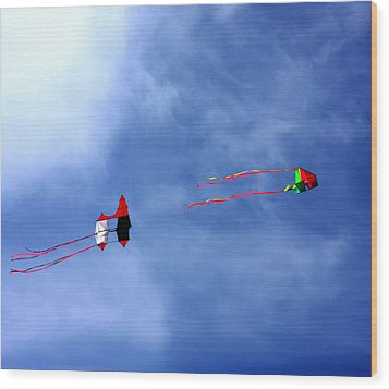 Let's Go Fly 2 Kites Wood Print