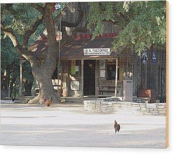 Let's Go To Luckenbach Texas Wood Print by Elizabeth Sullivan