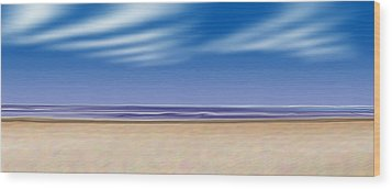 Wood Print featuring the digital art Let's Go To The Beach by Saad Hasnain
