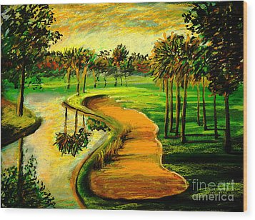 Let's Play Golf Wood Print by Patricia L Davidson