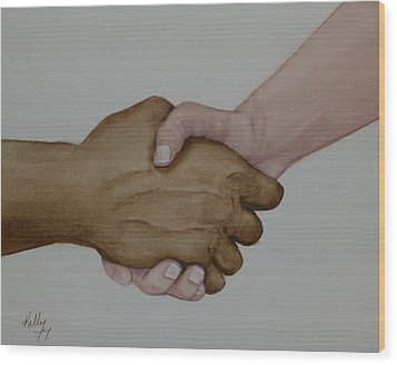 Let's Shake Hands On It Wood Print by Kelly Mills