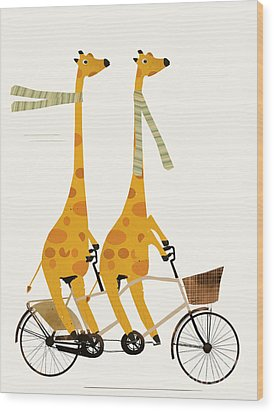Wood Print featuring the painting Lets Tandem Giraffes by Bri B