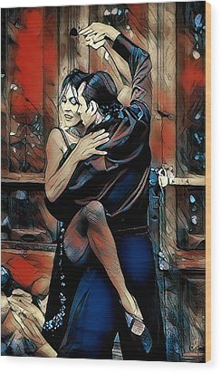 Wood Print featuring the digital art Let's Tango by Pennie McCracken