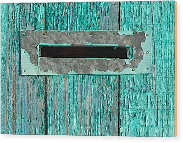 Letter Box On Blue Wood Wood Print by John Williams