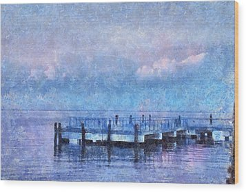 Wood Print featuring the mixed media Lewes Pier by Trish Tritz