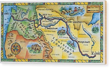 Lewis & Clark Expedition Map Wood Print by Jennifer Thermes