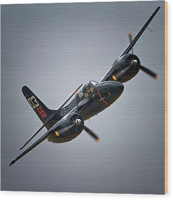 Lewis Aeronautical Llc's Grumman F7f Tigercat 2011 Chino Air Show Wood Print by Gus McCrea