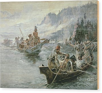 Lewis And Clark On The Lower Columbia River Wood Print by Charles Marion Russell