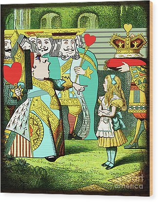 Lewis Carrolls Alice, Red Queen And Cards Wood Print