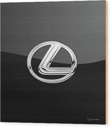 Lexus - 3d Badge On Black Wood Print