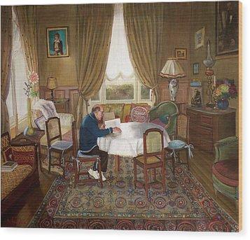 L'homme Qui Lit Wood Print by Dominique Amendola