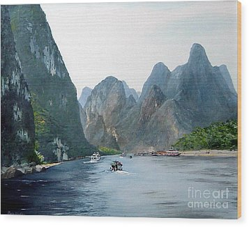 Li River China Wood Print by Marie Dunkley