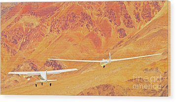 Libelle Sailplane On Tow Wood Print