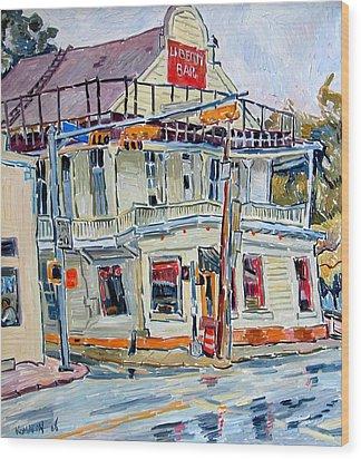 Liberty Bar In San Antonio. Rainy Day. Wood Print by Vitali Komarov
