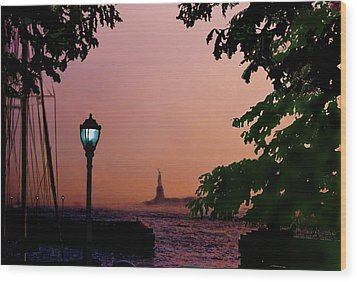 Wood Print featuring the digital art Liberty Fading Seascape by Steve Karol