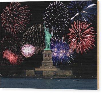 Liberty Fireworks 1 Wood Print by BuffaloWorks Photography
