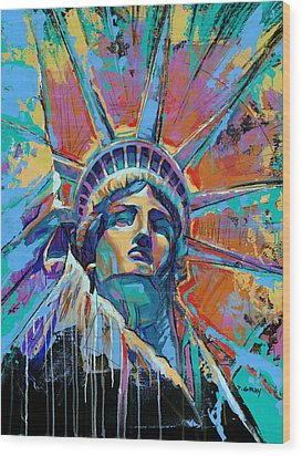 Liberty In Color Wood Print by Damon Gray