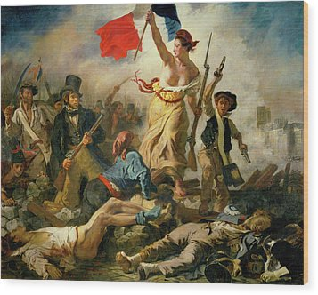 Wood Print featuring the painting Liberty Leading The People By Eugene Delacroix 1830 by Movie Poster Prints
