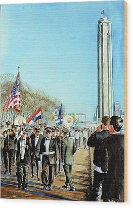 Liberty Memorial Kc Veterans Day 2001 Wood Print by Carolyn Coffey Wallace