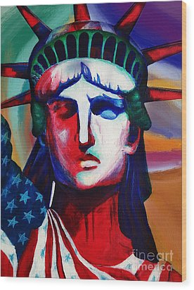 Liberty Of Statue New York 98jhm Wood Print by Gull G