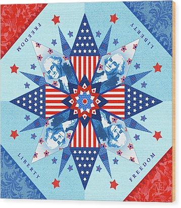 Liberty Quilt Wood Print by Valerie Drake Lesiak