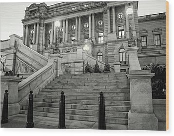 Wood Print featuring the photograph Library Of Congress In Black And White by Greg Mimbs