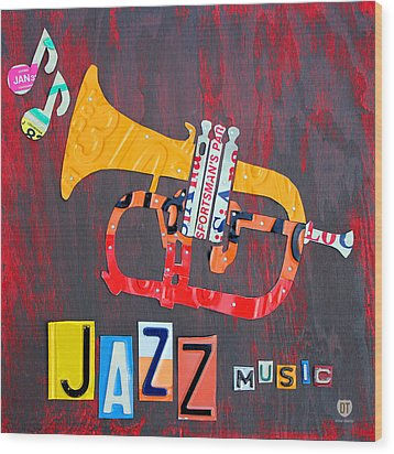 License Plate Art Jazz Series Number One Trumpet Wood Print by Design Turnpike
