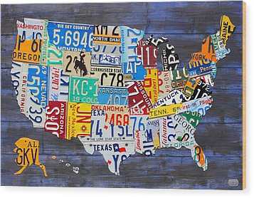 License Plate Map Of The Usa On Blue Wood Boards Wood Print by Design Turnpike