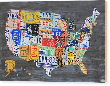 License Plate Map Of The Usa On Gray Distressed Wood Boards Wood Print by Design Turnpike