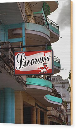 Wood Print featuring the photograph Licorama Bar Liquor Store In Havana Cuba At Calle 6 by Charles Harden