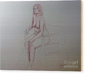 Life Drawing Nude Lady Wood Print