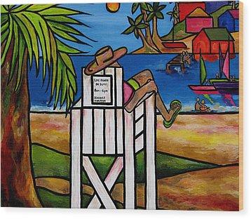 Life Guard In Jamaica Wood Print
