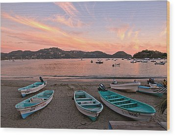 Wood Print featuring the photograph Life In A Fishing Village by Jim Walls PhotoArtist