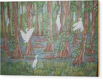 Life In The Delta Wood Print by Belinda Lawson