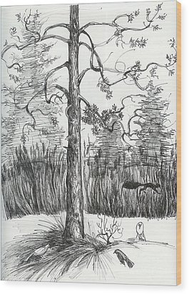 Life In The Forest Wood Print by Anna  Duyunova