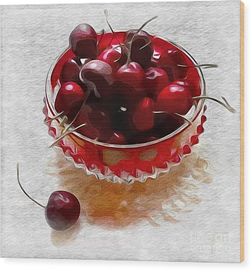 Wood Print featuring the digital art Life Is A Bowl Of Cherries by Alexis Rotella