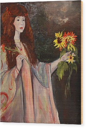 Wood Print featuring the painting Life Is Fragile Handle With Flowers by Jane Autry